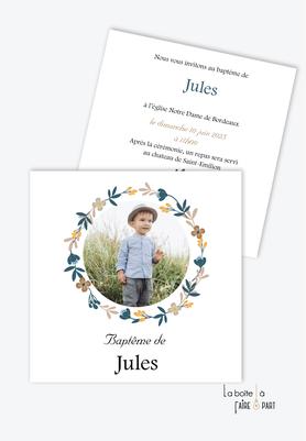 faire part baptême garçon format carré, couronne printanière -champêtre-fleurs-photo-religieux-