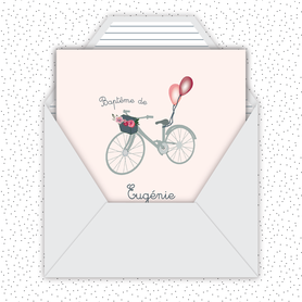 faire part bapteme fille numérique animé-Faire-part baptême digital-électronique-fichier Pdf-envoyer via les reseaux sociaux-whatsapp-facebook-messenger-Vélo champêtre-ballon-bouquet de fleurs