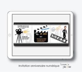 Carte invitation anniversaire-invitation anniversaire hommr numérique-électronique- 20ans-30ans-40ans-50ans-60ans-faire-part à envoyer par sms-mms-par mail-réseaux sociaux-whatsapp-facebook-cinema-film-seance de cinema-charly chaplin-