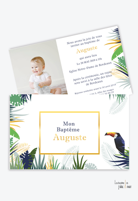 faire part baptême garçon tropical toucan-jungle-feuille-palmier-bananier-avec photo-faire part animal-animaux