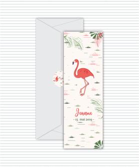 faire-part naissance fille numérique-faire-part naissance fille digital-fichier pdf -flamant rose tropical -à imprimer-à envoyer par mail -à envoyer par mms-sms-réseaux sociaux