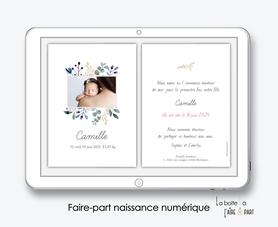 faire-part naissance fille numérique-faire part électronique-faire part numérique-imprimable-pdf numérique-faire part connecté-photo-faire-part à envoyer par sms-mms-par mail-réseaux sociaux-whatsapp-facebook-bouquet champetre-fleurs-eucalyptus