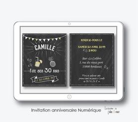 invitation anniversaire femme numérique-électronique-digital- à envoyer par mail et reseaux sociaux-whatsapp-facebook-mms-Ardoise fiesta-ananas-cocktail