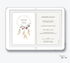 faire-part mariage numérique-faire part mariage digital-faire part numérique-pdf numérique-faire part mariage electronique -faire-part à envoyer par mms-par mail-réseaux sociaux-whatsapp-facebook-messenger-attrape rêves bohème-pampas-fleur-fougére