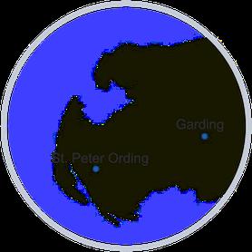 Lage der Ferienwohnung Marschjuwel in Garding an der Nordsee