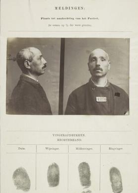 Signalementkaart Veenhuizen opname 09-02-1896