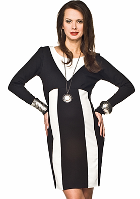 black & white maternity dress long sleeve made in europe