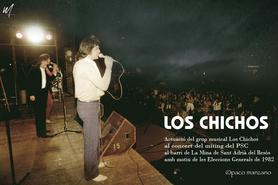 Actuació del grup musical Los Chichos al concert del míting del PSC al barri de La Mina de Sant Adrià del Besòs amb motiu de les Eleccions Generals de 1982.  Foto de @paco manzano