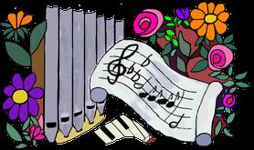 """Ausschnitt aus Titelbild: """"Einfach spielen"""", Notenband von Beate Leibe"""