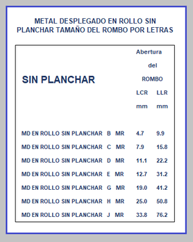 METAL DESPLEGADO EN ROLLO SIN PLANCHAR TAMAÑO DEL ROMBO POR LETRAS
