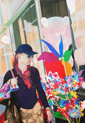 La Promenade, 2019. (Acryl / Farbstift / PE-Folie / Holz, 100 x 70 cm)