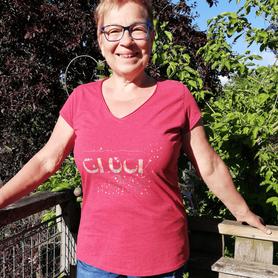 Frauen Vintage T-Shirt rot meliert