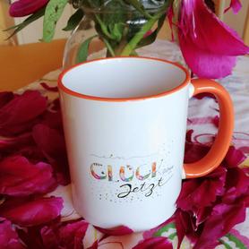 Tasse zweifarbig weiß-orange