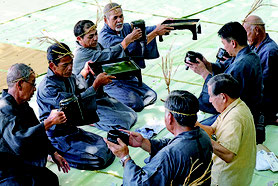 ミシャグパーシィの儀式が執り行われた=30日午前、米為御嶽