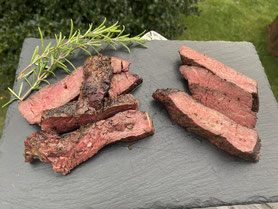 Steak garniert mit Flames