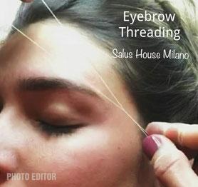 eyebrow threading definire le sopracciglia con il ilo di cotone