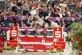 Der Belgier Gregory Wathelet gewinnt den Großen Preis von Leipzig. Foto: Sportfoto Lafrentz