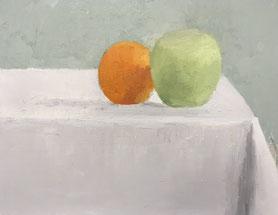 林檎とオレンジ 3号 油彩 (描き始め)