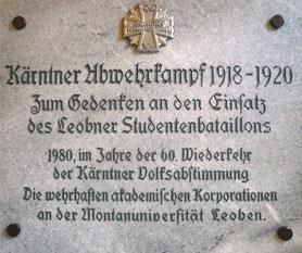 Gedenktafel am Corpshaus im Eingangsbereich