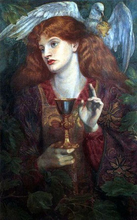 The Damsel of the Sanct Grael by Dante Gabriel Rossetti. (1874)