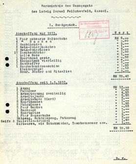 Seite 1 des Verzeichnisses des Umzugsgutes (HHStAW 519-3 36124)