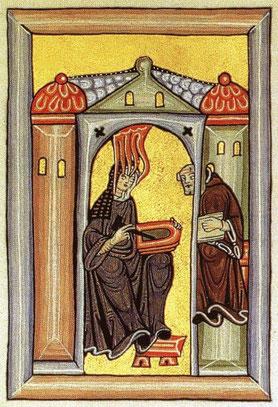 """Hildegard empfängt eine göttliche Inspiration und zeichnet sie auf  Wachstafeln. (aus dem """"Rupertsberger Codex"""")"""