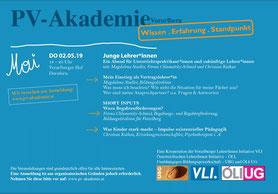 Eine Veranstaltung der VLI und UBG mit der PV-Akademie: Junge lehrer*innen  Bild: Folder