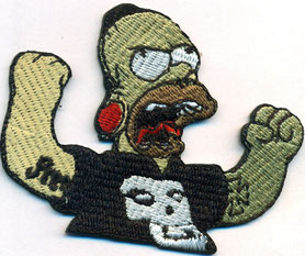 Homer Simpson Aufnäher, never to old to rock, Heavy Metal Patch