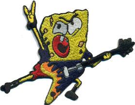 Sponge Bob Rocker Heavy Metal Gitarre, Metaler Hand Aufnäher Patch Abzeichen