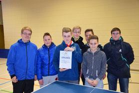 Unser Siegerteam mit dem Schülerbetreuer Jonas Lomp