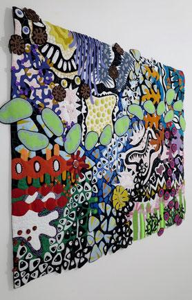 Kunstquilt mit dem Titel: Topogravity Teilnahme an der 7. Europäischen Quilttriennale der Textilsammlung Max Berk, Kurpfälzisches Museum Heidelberg