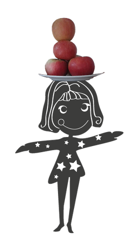 8 jähriges Mädchen balanciert Äpfel