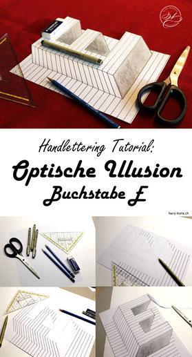 Handlettering mit einem WOW Effekt gestalten! Lerne dank dieser Anleitung wie du eine optische Illusion mit dem Buchstaben E gestalten kannst. Handlettering mit WOW Effekt - ganz einfach gemacht!