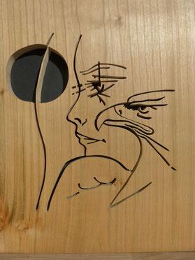 Visage et aigle - d'après l'oeuvre de Jean-Yves Trémois - Atelier Eclats de bois