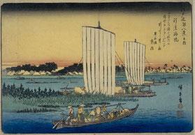 歌川広重「江戸近郊八景 行徳帰帆」(1838年)