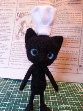 羊毛フェルト 黒猫のシェフ