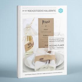 15-seitige Anleitung zum Individualisieren, Anfertigen und Drucken der Hochzeitspapeterie und Deko-Elemente