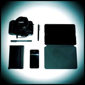 Moleskine, iPhone, iPad, Canon D60, stylus y bolígrafo