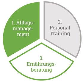 Im Gesundheitscoaching vertiefen wir die Bereiche Alltagsmanagement, Personal Training und Ernährungsberatung