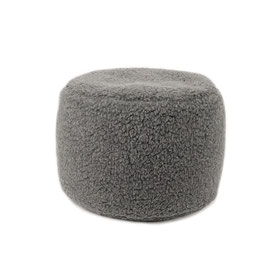 Pouf repose pieds en laine naturelle de mouton gris anthracite