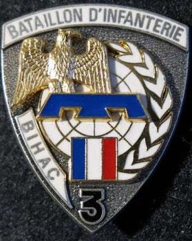 Insigne métallique du 3e Bataillon d'infanterie de Bihac (ex-Yougoslavie) dont le 99e R.I. était une composante