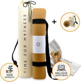 aGreenie® Premium Eco Yogamatte Tasche Set Kork Naturkauschuk - 4mm – rutschfest – schadstoffrei – Sport Fitness Gymnastik Matte Tragegurt Plus Geschenk Massageball und E-Book