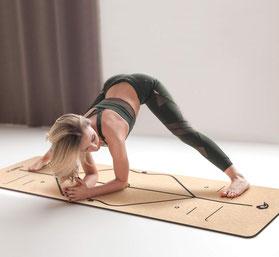 Homtiky Yogamatte Gymnastikmatte aus Naturkautschuk und Kork, Schadstofffreie Sportmatte Korkmatte mit Tragegurt