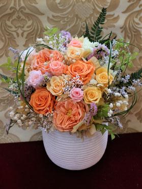 開店開業開院祝いに贈りたい豪華で大きなサイズのオレンジ色プリザーブドフラワー