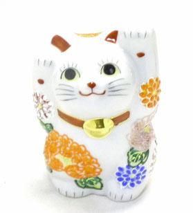 九谷焼通販 招き猫 4号 デコ盛 花づくし 両手