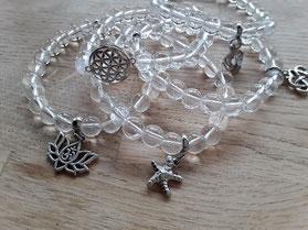 Bergkristall Armbänder mit Symbolen