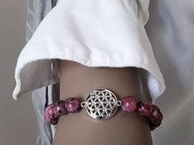 Jaspis Armband mit Lebensblume