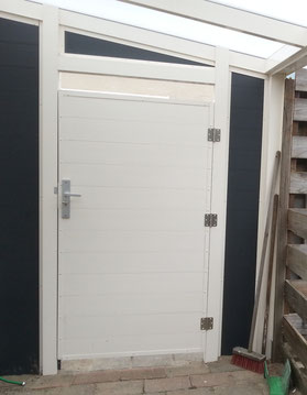 aluminium poortdeur roomwit & aluminium schutting antraciet