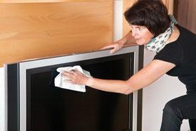 Putztuch für Flachbildschirm, Flachbildschirm abwischen, Flachbildfernseher putzen, Mikrofasertuch für Flachbildschirm