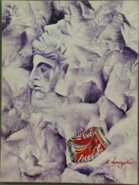 石膏像と空き缶 アクリル12号